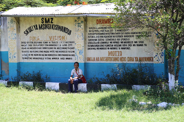 A wall with the school's mission at the entrance of Kisiwandui primary school in Zanzibar. Credit: GPE/Chantal Rigaud