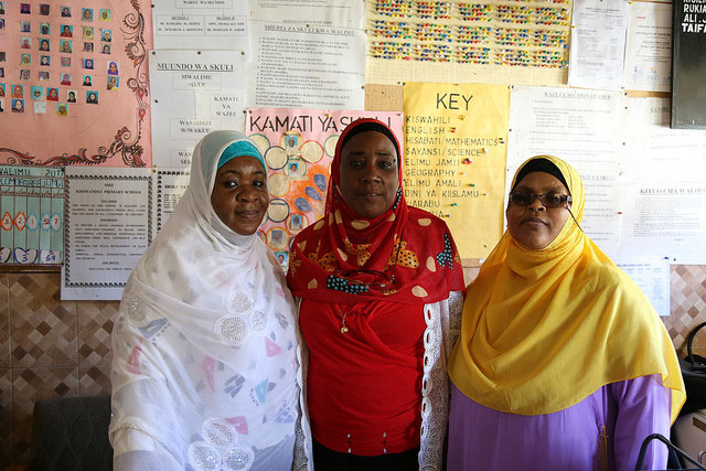 The head teacher (center) and her two deputies in their office. Kisiwandui primary school in Zanzibar Tanzania, April 2017. Credit: GPE/Chantal Rigaud