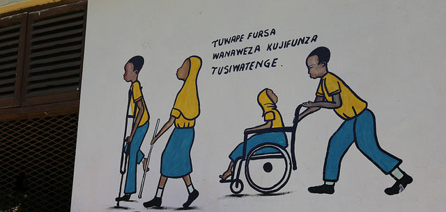 A painting on the wall in the entrance of Kisiwandui primary school in Zanzibar depicts inclusive education. The school welcomes 50 students with disabilities. Credit: GPE/Chantal Rigaud