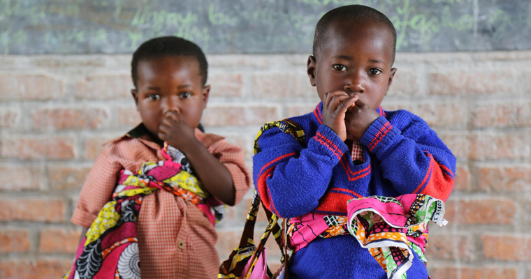 Children playing dress up in their pre-school classroom at  Jean de la Mennais School in Burera district in rural Rwanda. Credit: GPE/Alexandra Humme