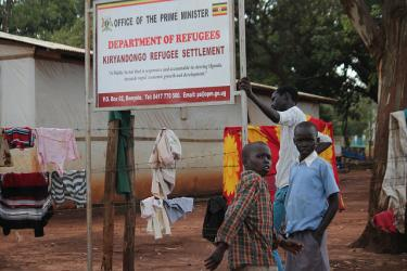 Sign at the entrance of Kiryandongo refugee settlement Uganda - December 2015 Credit: GPE/Henry Bongyereirwe