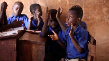 Students clapping for a fellow student in Ghana. Credit: GPE/Stephan Bachenheimer
