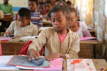 A girl attends school in Madagascar. Credit: GPE/Carine Durand