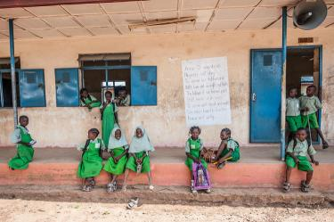 These primary school students sit onthe steps of their school, Kuje Primary School, in Abuja, Nigeria. Credit: A World At School/Nick Cavanagh