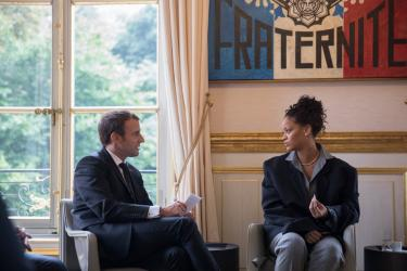 France's Macron meets Rihanna at the Elysee Palace
