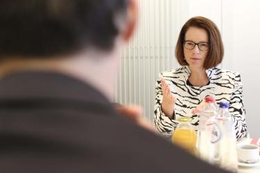 Julia Gillard in a meeting in Brussels, Belgium with Deputy Prime Minister Alexander De Croo. Credit: Ministry of Development Cooperation/Belgium