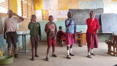Deaf children reciting poetry at the Baba Dogo school in Kenya. Credit: Deaf Child Worldwide
